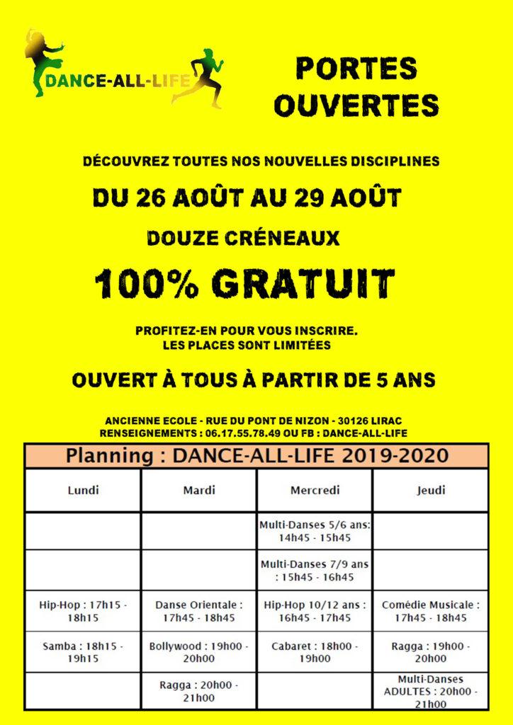 DANCE-ALL-LIFE Portes ouvertes août 2019